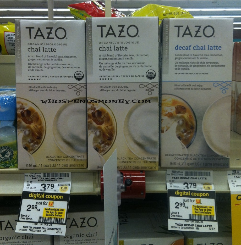 $0.49 Tazo Chai Latte Concentrate @ Safeway