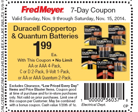 picture relating to Duracell Battery Coupons Printable known as $0.49 Duracell Batteries @ Fred Meyer