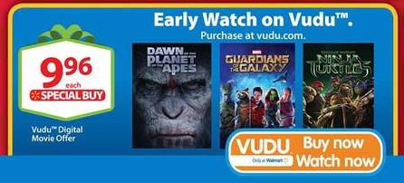 $4.96 Guardians Of The Galaxy (plus bonus features) Digital @ VUDU