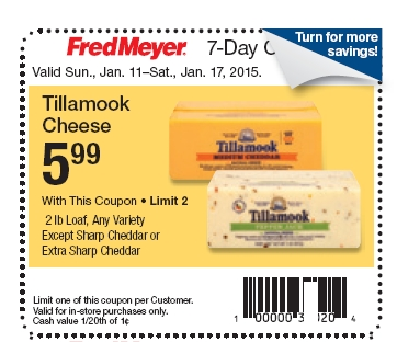 $4.99 Tillamook 2lb Cheeses Starting 1/11 @ Fred Meyer