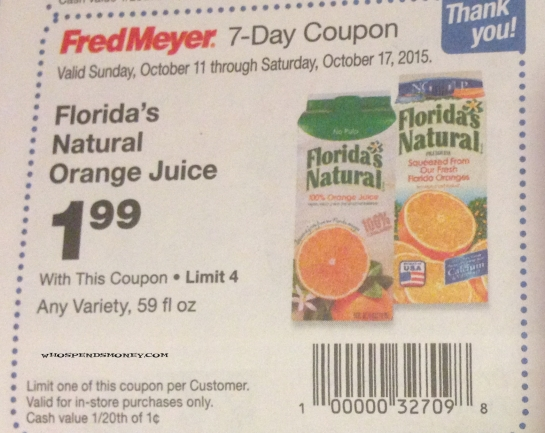 $0.99 Florida's Natural Orange Juice(59oz) Starting 10/11 @ Fred Meyer