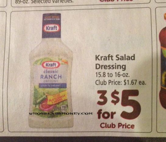 $0 42 Kraft Salad Dressing @ Safeway (1/29/16 ONLY) -