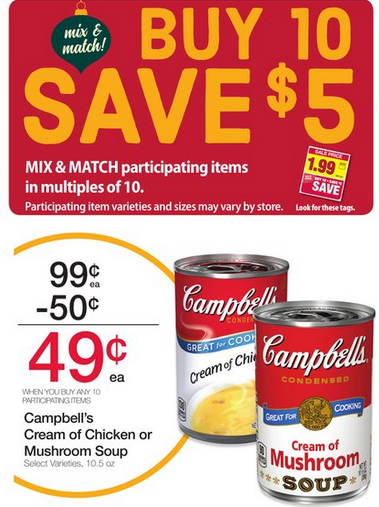 $0.29 Campbells Cream of Mushroom/Chicken Soup @ Fred Meyer