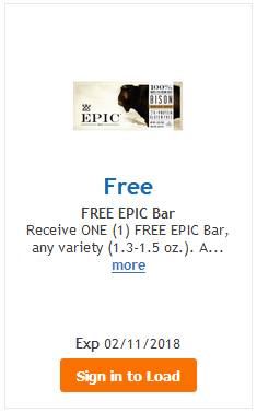 FREE Epic Bar (Any Variety) LOAD TODAY @ Fred Meyer/QFC